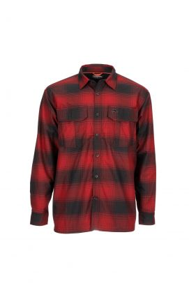 Simms Coldweather Shirt - Auburn Red Plaid