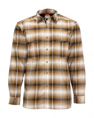 Simms Coldweather Shirt - Dark Bronze Black Plaid