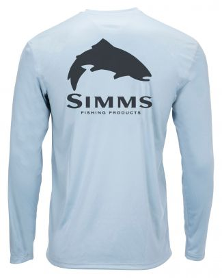 Simms Solar Tech Tee Trout Logo Steel Blue