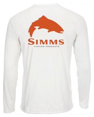 Simms Solar Tech Tee Trout Logo White